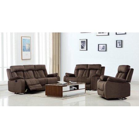 Global Furniture 9760 Contemporary Brown Microfiber Recliner Sofa Set 3pcs