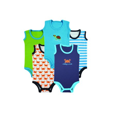 Sleeveless Bodysuits, 5Pk (Baby Boys)