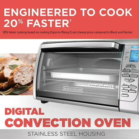 BLACK+DECKER 6-Slice Digital Convection Countertop Toaster Oven, Includes Bake Pan, Broil Rack & Toasting Rack, Stainless Steel - New ()