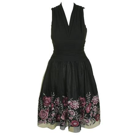 Sl Fashions Black Floral Embroidered-Hem Fit & Flare Dress 4
