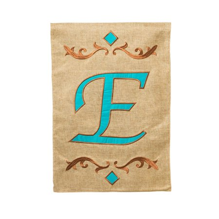 Evergreen Burlap Teal E Monogram Garden Flag  12 5 By 18 Inches  Features A Chic E Monogram By Evergreen Flag