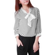 Women's Polka Dots 3/4 Elbow Sleeve Dressy Blouse (Size M / 8)