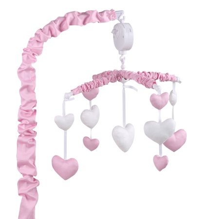 The peanut shell musical crib mobile pink and white for Baby mobile pink and grey