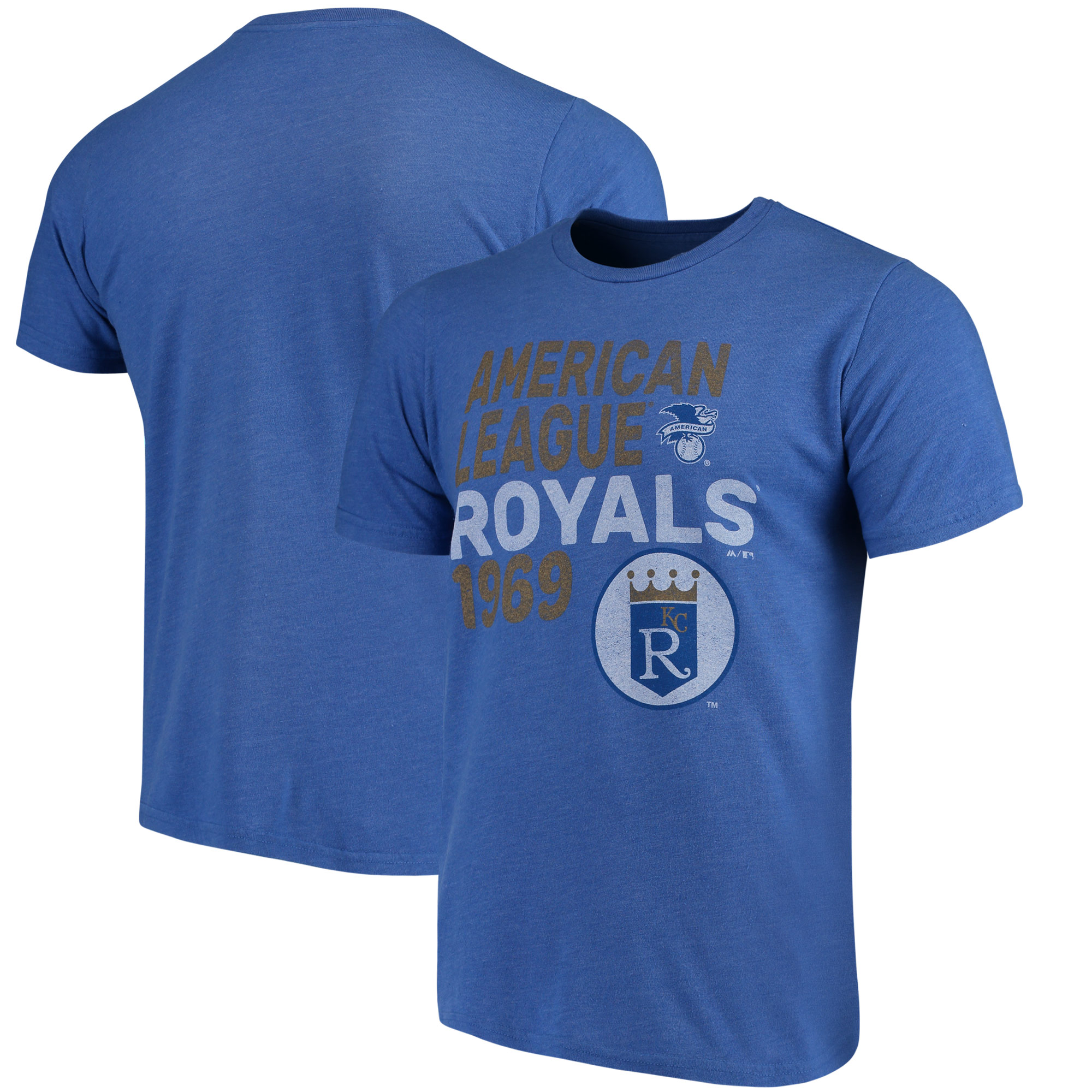 Kansas City Royals Majestic Threads Throwback Cooperstown Collection Tri-Blend T-Shirt - Royal