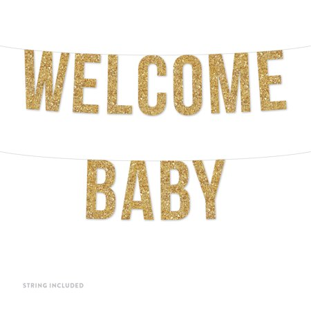 Gold Welcome Baby Real Glitter Paper Pennant Hanging Banner Includes String No Assembly Required