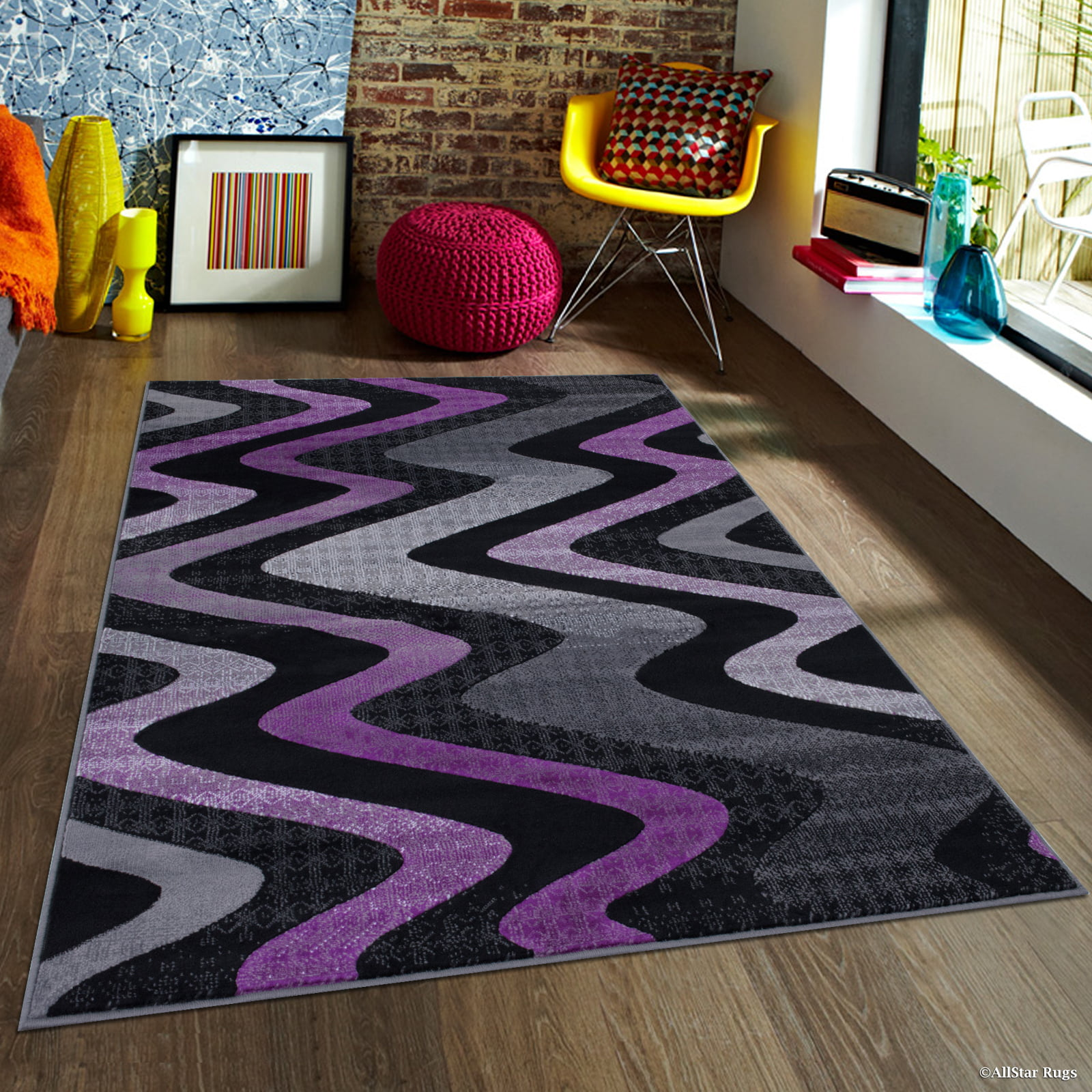 Purple Allstar Modern. Contemporary Woven Rug. Drop-Stitch Weave Technique. Carved Effect. Vivid Pop Colors... by Overstock