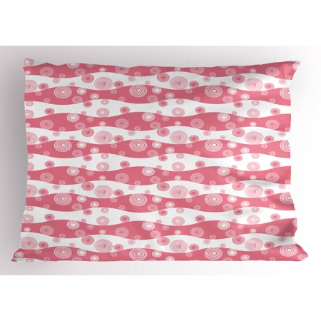Retro Pillow Sham, Monochrome Repeating Spirals Swirls Ornament on a Wavy Stripes Background, Decorative Standard Size Printed Pillowcase, 26 X 20 Inches, Off White and Pink, by Ambesonne](Halloween Repeating Backgrounds)