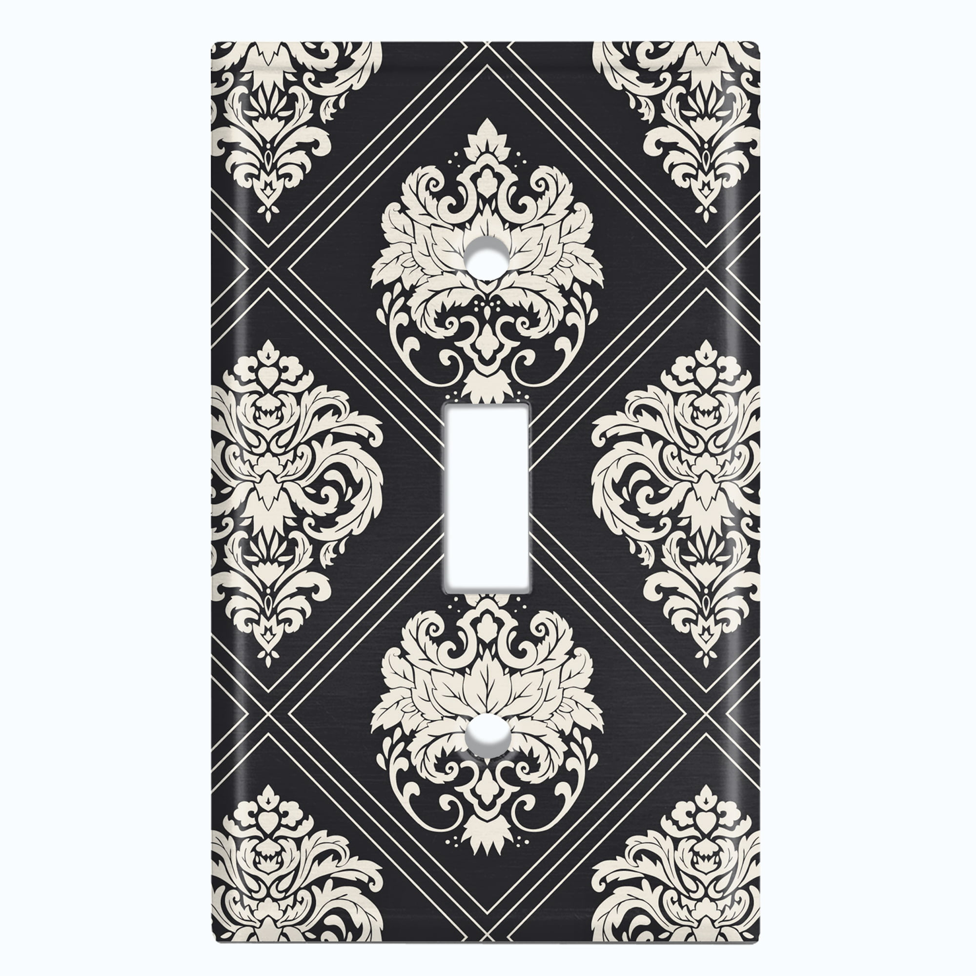 Metal Light Switch Plate Outlet Cover Damask Diamond Black Pattern Single Toggle Walmart Com Walmart Com