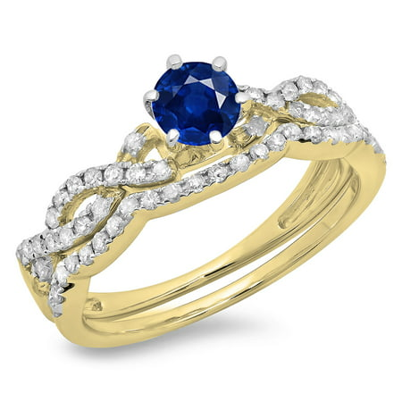Dazzlingrock Collection 0.90 Carat (ctw) 10K Blue Sapphire & White Diamond Swirl Engagement Ring Set, Yellow Gold, Size 7.5