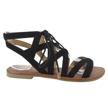 708896371d609c CityClassified ID44 Women Lace Up Criss Cross Strappy Backless Flat Sandals  - Walmart.com