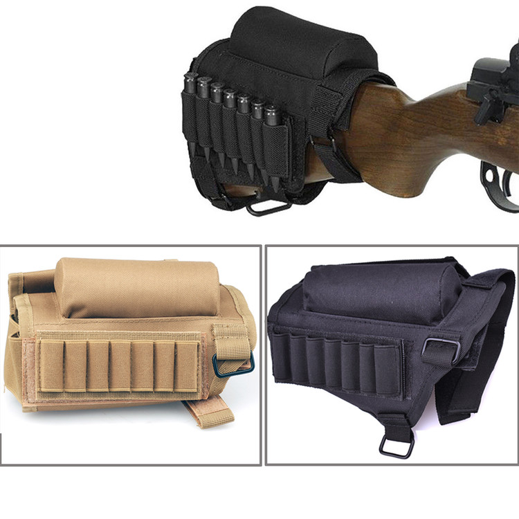 Okeba Tactical Rifle Gun Buttstock Cheek Rest with Ammo Pouch Holder for .308 .300 Winmag, Black