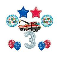 10 pc LEGO CITY Fire Engine Firetruck 3rd Birthday Fire TruckParty Balloon De...
