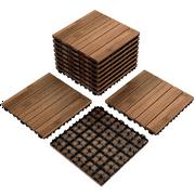 """Topeakmart Patio Pavers Decking Flooring Deck Tiles 12 x 12"""" Interlocking Outdoor Indoor Wood Tiles 11PCS"""