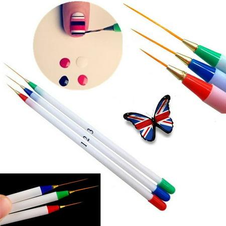 3Pcs Nail Art DIY Acrylic Drawing Painting UV Gel Pen Brush Set Dotting Brush