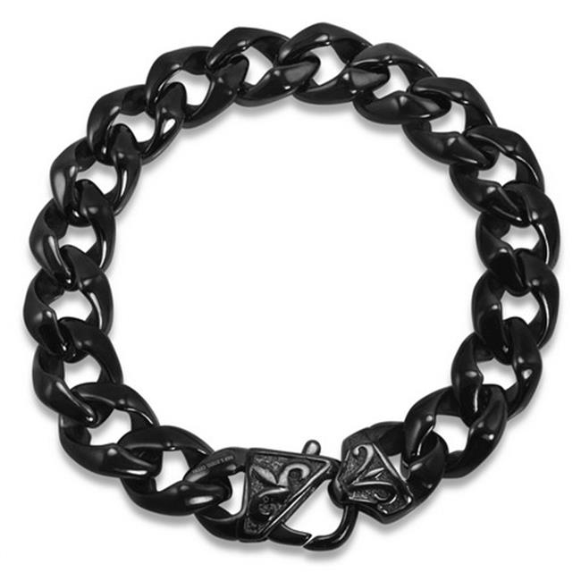 Oxford Ivy Mens Black Curb Link Stainless Steel Bracelet
