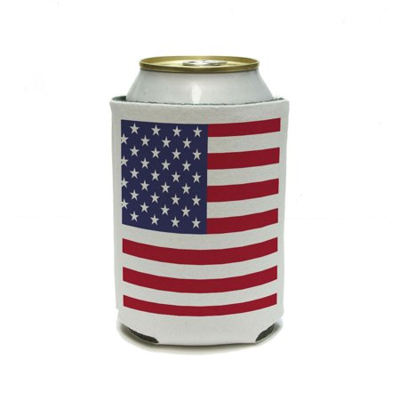 USA American Flag United States - Birthday July 4th Patriotic Can Cooler Drink Insulator Beverage Insulated Holder