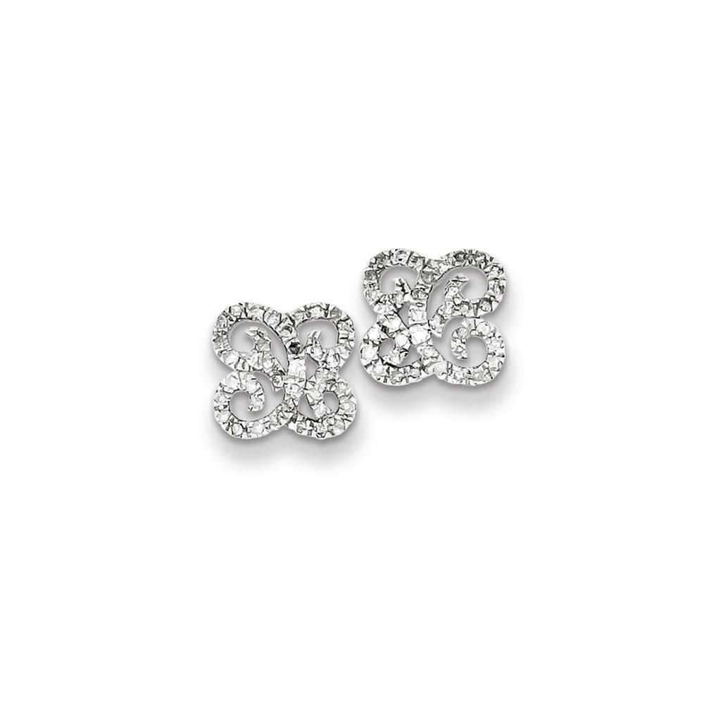 Sterling Silver Diamond Butterfly Post Earrings. Carat Wt- 0.33ct (8.68MM)
