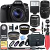 Canon EOS 80D CMOS DSLR Camera + 18-55mm IS STM & 70-300mm f/4-5.6 DG Macro Telephoto Zoom Lens Kit + Accessory Bundle 64GB SDXC Memory + Bag + Wide Angle Lens + 2x Telephoto Lens + Flash + Tripod E12CNEOS80DXSIG CAMERA INCLUDES:Canon EOS 80D Camera BodyCanon EF-S 18-55mm f/3.5-5.6 IS STM LensBattery Pack LP-E6NBattery Charger LC-E6Eyecup EbWide StrapLENSES INCLUDE:EF-S18-55mm 1:3.5-5.6 IS STM LensLens Cap E-58IILens Dust Cap EWarranty Card for LensSigma 70-300mm f/4-5.6 DG Macro Lens for Canon EOSFront & Rear Lens CapsHoodLimited 1-Year North and South America WarrantyBUNDLE INCLUDES:64GB Class 10 UHS-1 SDXC Memory CardCanon EOS DSLR Camera and Gadget Shoulder Bag 100ESPro .43x Wide Angle Lens with MacroPro 2x Telephoto Lens Converter58mm UV, Polarizer & FLD Deluxe Filter Kit (Set of 3 Carrying Case)Bounce Zoom Slave FlashWireless Shutter Release Remote Control12-inch Rubberized Spider ...