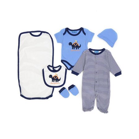 Sweet & Soft 2323231 Baby 5 Piece Take Me Home Sleeper Gift Set, Dino Best Friends - Blue - Case of