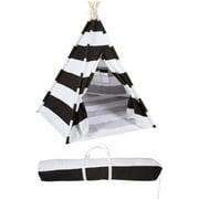 6' Canvas and Pine Wood Teepee With Carry Case - Playful Stripes - By Trademark Innovations (Grayish-Black Stripes)