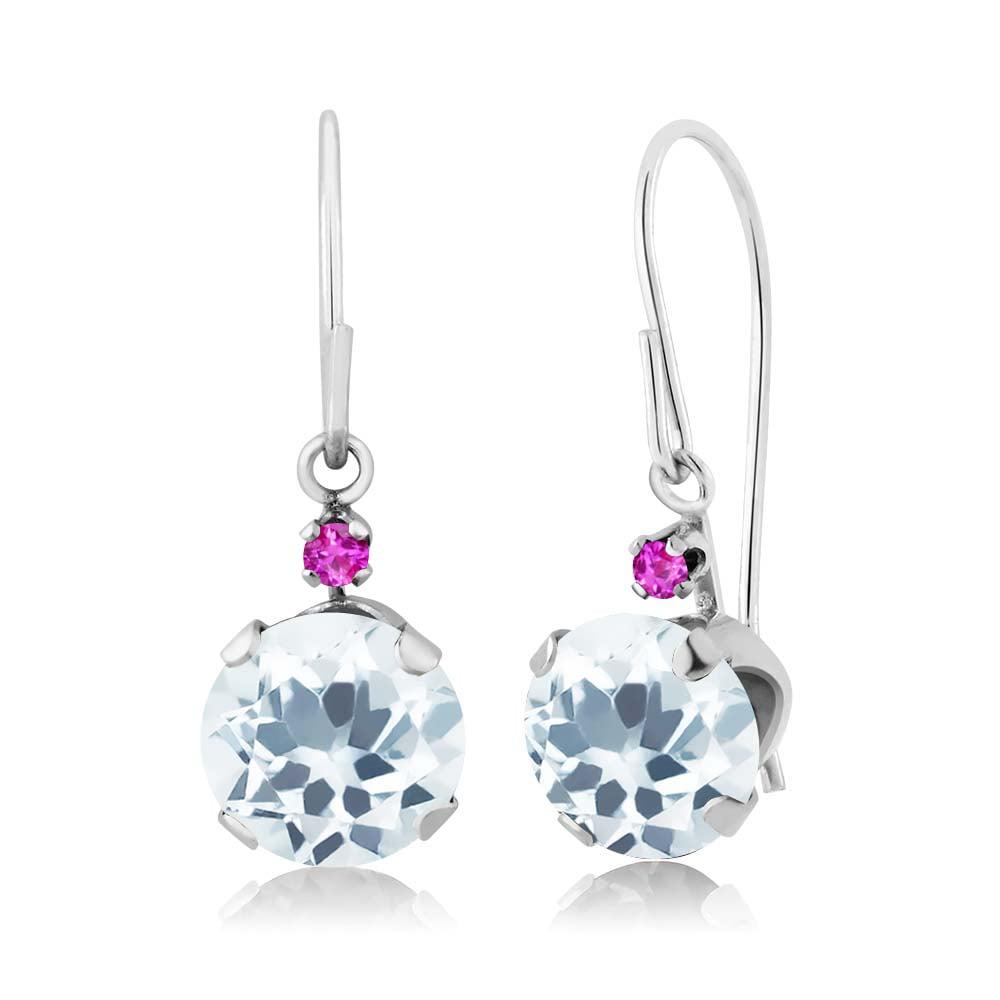 1.54 Ct Round Sky Blue Aquamarine Pink Sapphire 14K White Gold Earrings
