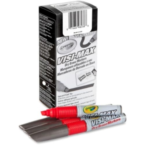 Crayola Visi-max Dry Erase Markers - Bold Marker Point Type - Chisel Marker Point Style - Red - 12/dozen (986012a038)
