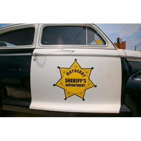 Mayberry Sheriffs Department Police Car in Mount Airy North Carolina the  town featured in Mayberry RFD and home of Andy Griffith Poster Print by