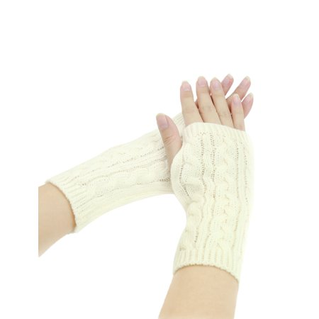 1606-D229 Unisex Thumbhole Fingerless Cable Knit Knitted Gloves - Thumbhole Stock