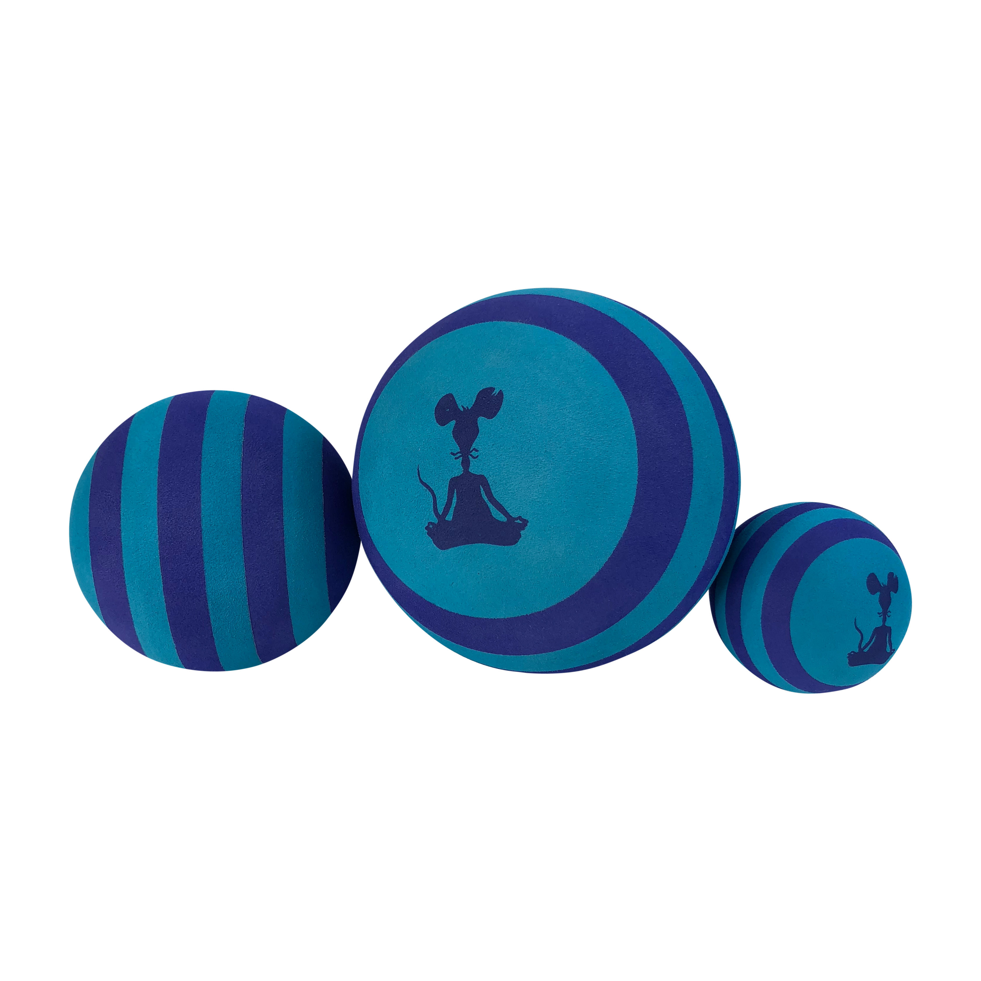 YogaRat Set of 3 Exercise Massage Therapy Balls, Blue/Black