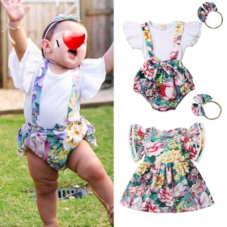 Newborn Baby Girl Sister Matching Summer Clothes T-shirt Shorts Dress Headband Outfits](Matching Toddler And Infant Outfits)