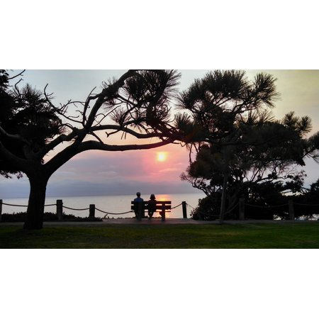 Framed Art for Your Wall Sunset Walk Beach Romantic Date Bench Couple 10x13 Frame