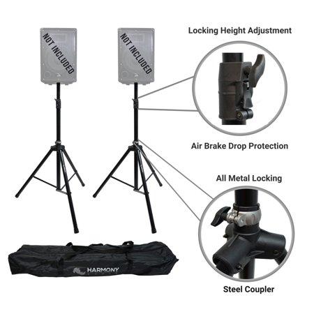 - Harmony Audio A-DSBA Pro DJ Tripod Speaker Stand Pair Button Air Brake Lowering