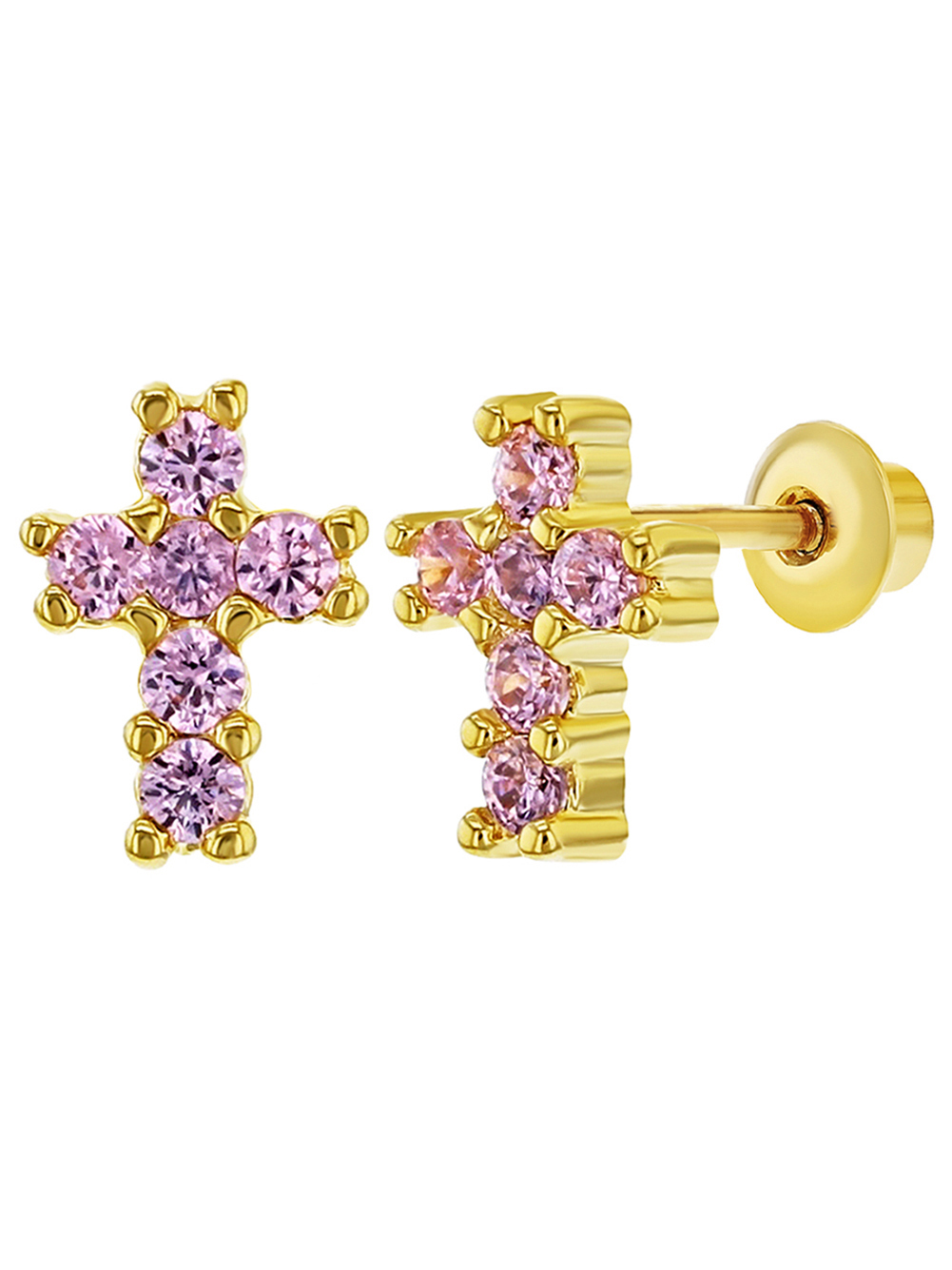 18k Gold Plated Tiny Pink CZ Religious Cross Screw Back Baby Girl Earrings