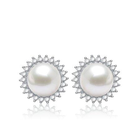 - RelavenO Sterling Silver White Freshwater Pearl Cubic Zirconia Flower Earrings (10.5 mm)
