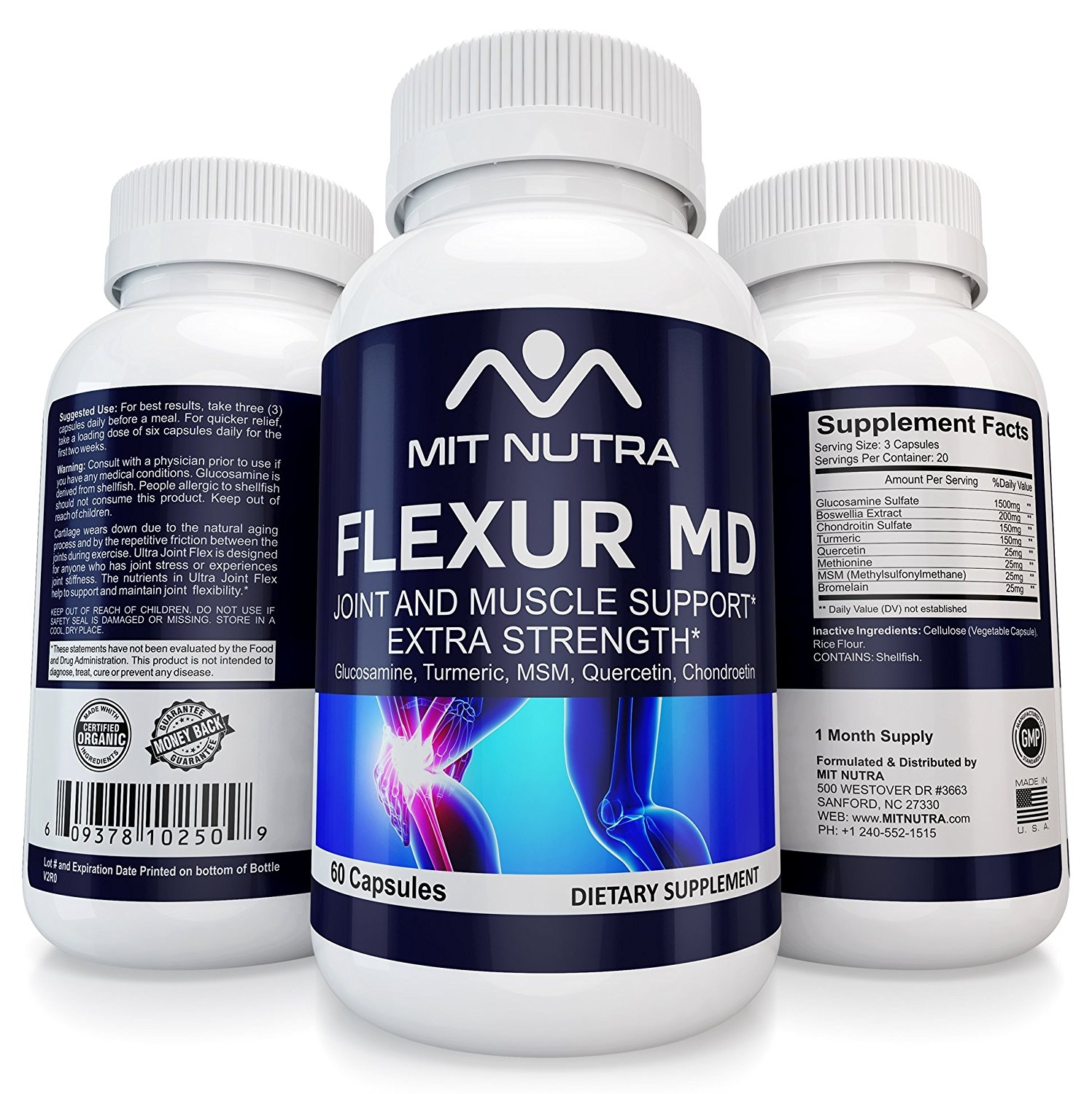 Joint Supplement For Women And Men, Best Relief, Advanced Support, Recovery In Capsule Form FLEXUR MD by MIT NUTRA