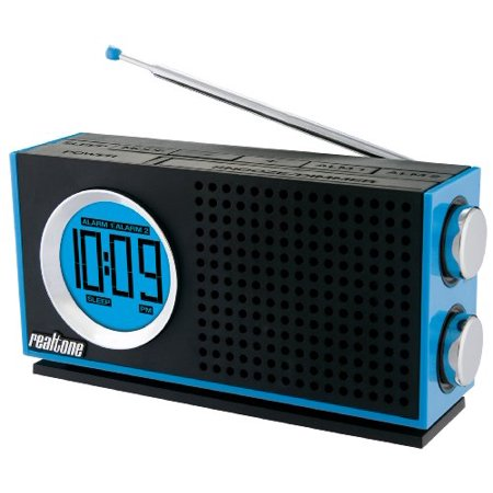 realtone rt212l am fm portable dual alarm clock radio blue. Black Bedroom Furniture Sets. Home Design Ideas
