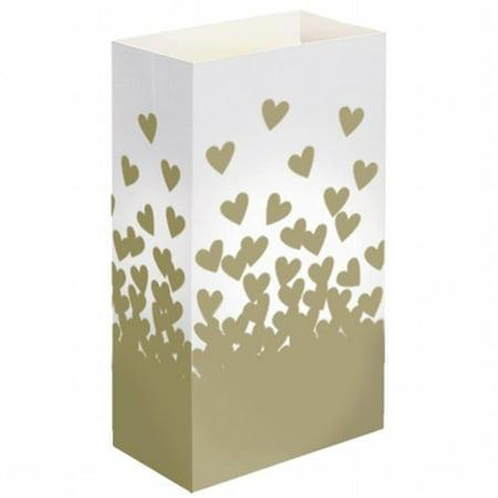 Luminaria Bags - Standard Gold Hearts 24 Ct