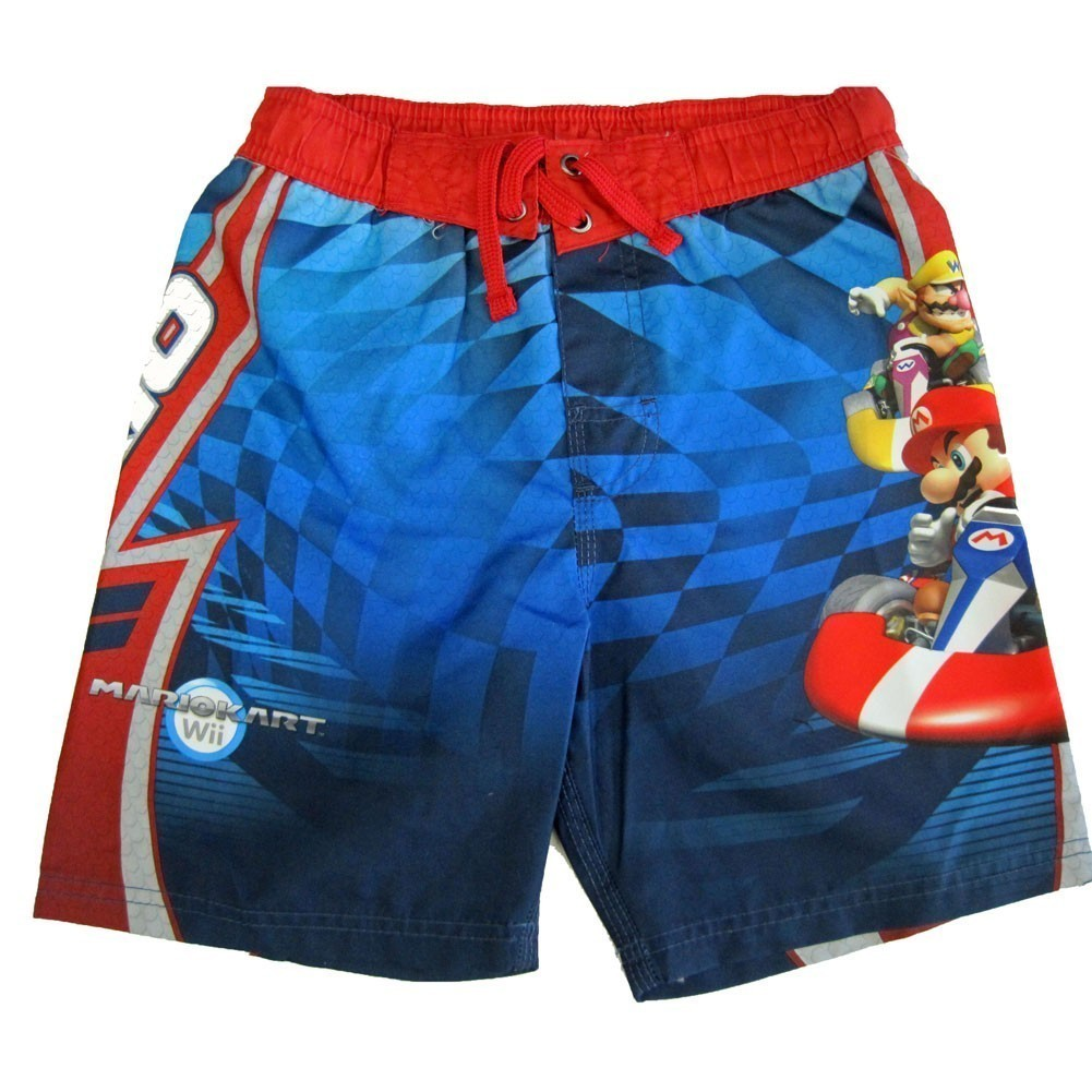Little Boys Red Blue Karting Scene Print Swimwear Shorts 7