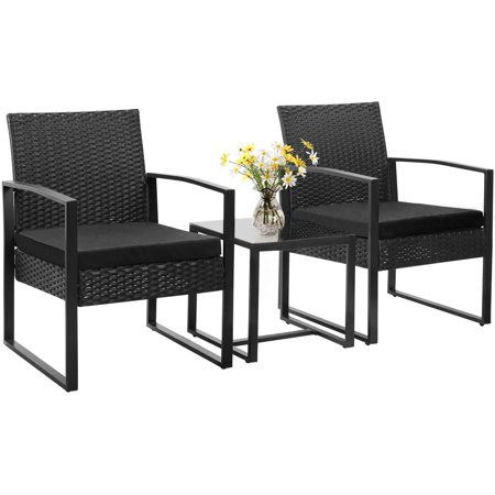Homall Balcony Furniture Patio Chairs Set of 2 with Table 3 Piece Patio Furniture Set Bistro Table Set for Garden Backyard Outdoor Patio Use Porch Chairs Cushioned PE Wicker Bistro Set Rattan