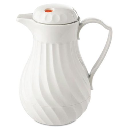 Hormel Corp 402264 Poly Lined Carafe, Swirl Design, 64oz Capacity, White