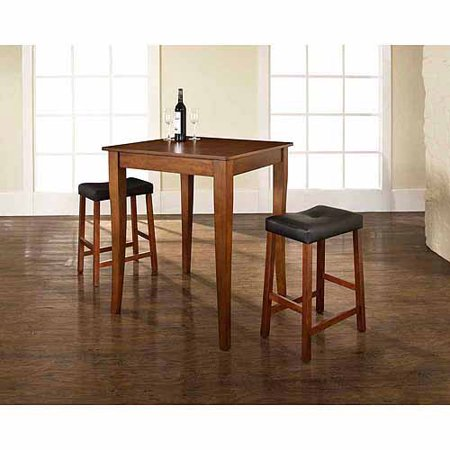 Crosley Furniture 3-Piece Pub Dining Set with Cabriole Leg and Upholstered Saddle Stools