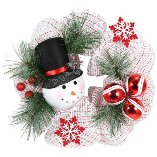 """Holiday Time White Snowman Wreath, 20"""""""