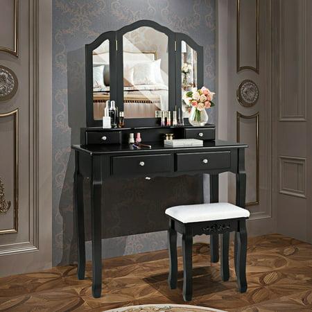 Gymax Bedroom Tri Folding Mirror Vanity Makeup Table Stool ...