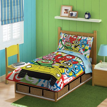 discontinued yo gabba gabba 4 piece toddler bedding set walmart com