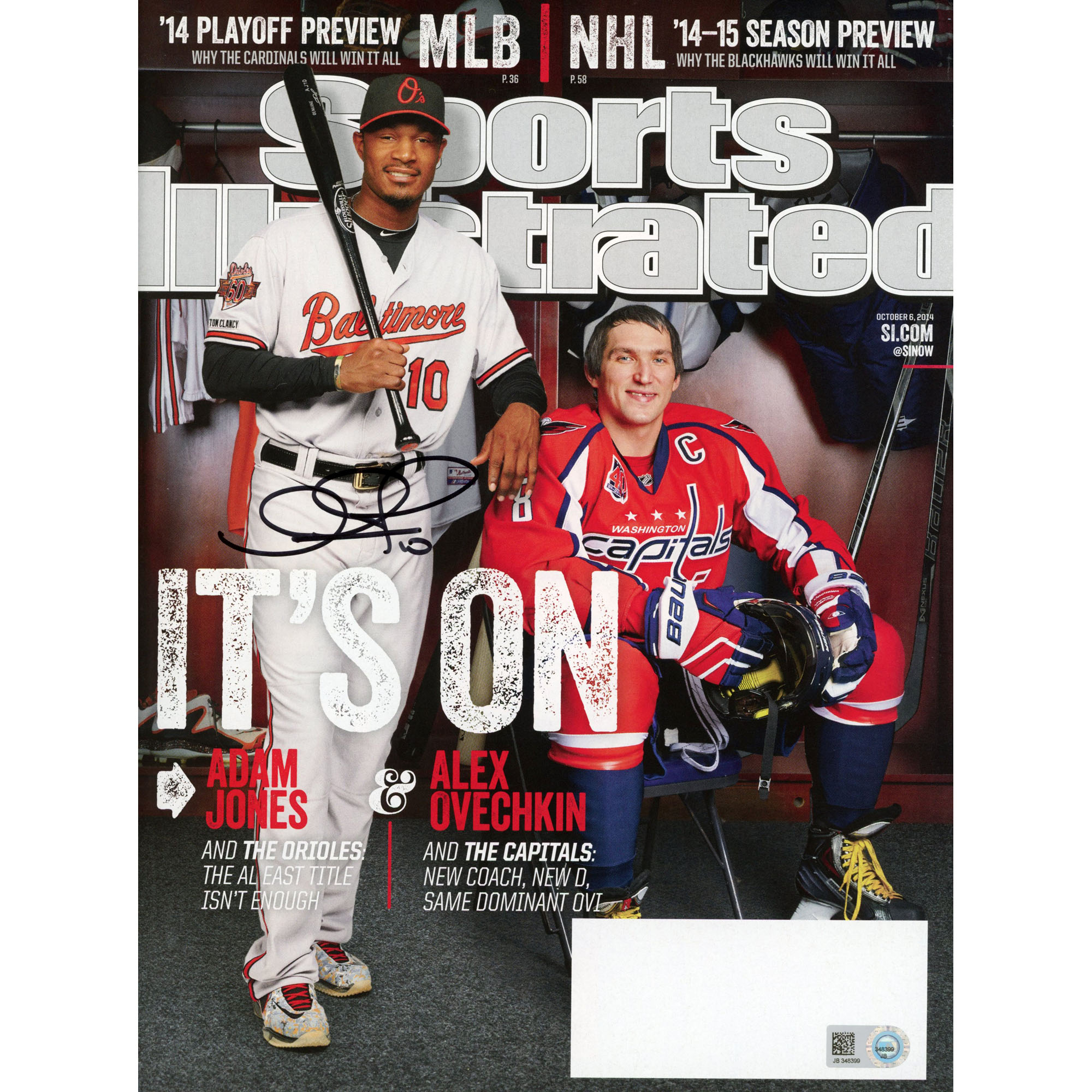 Adam Jones Baltimore Orioles Fanatics Authentic Autographed It's On (10/6/14) Sports Illustrated Magazine - No Size