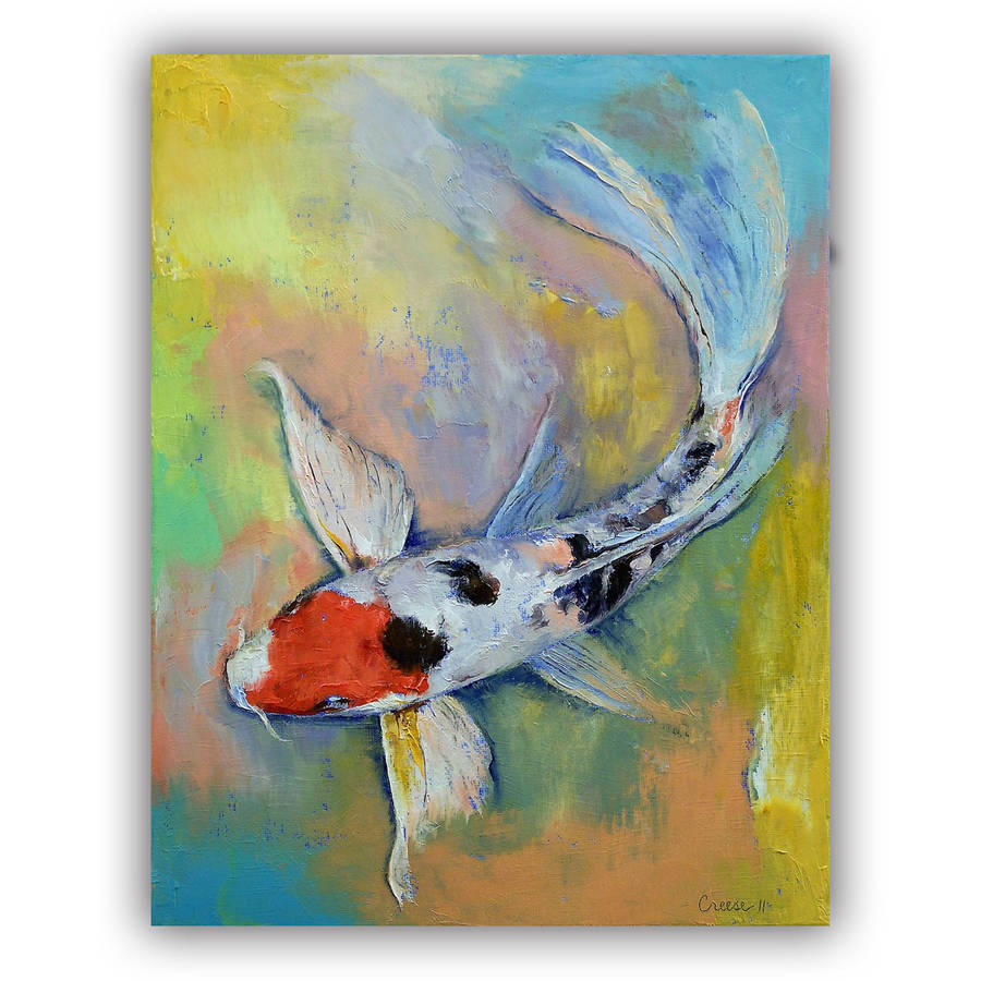 "ArtWall Michael Creese ""Maruten Butterfly Koi"" Art Appeals Removable Wall Art"
