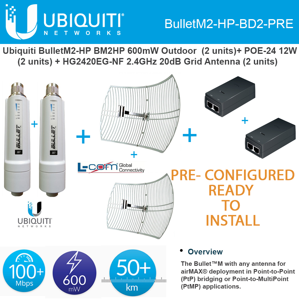 Ubiquiti Bullet M2 HP Outdoor 2 Units PRE-CONFIGURED + 2x...