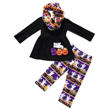 Toddler Girls 3 Pieces Set BOO Ghost Halloween Pumpkin Outfit Top Scarf Pant Set Black 2T XS - Three Girl Halloween Ideas