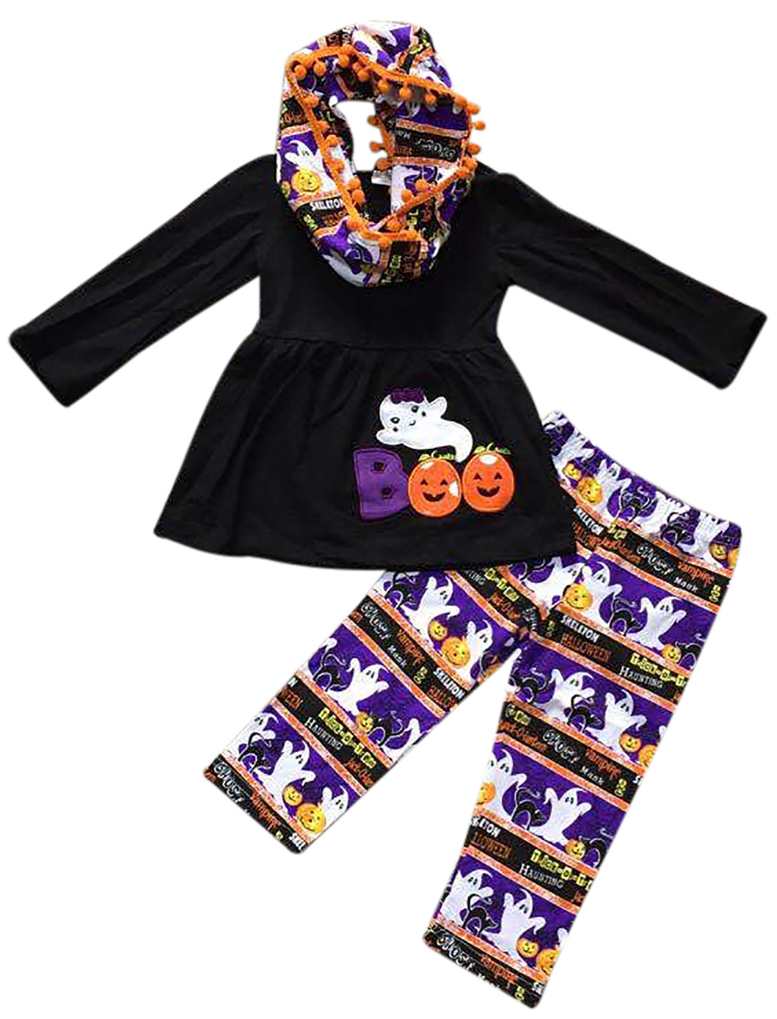 Toddler Girls 3 Pieces Set BOO Ghost Halloween Pumpkin Outfit Top Scarf Pant Set Black 2T XS (P318337P)
