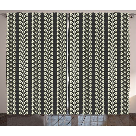 Floral Curtains 2 Panels Set, Vertical Wavy Lines of Flourishing Spring Leaves on Branch Wavy Pattern Image, Window Drapes for Living Room Bedroom, 108W X 84L Inches, Black and White, by Ambesonne